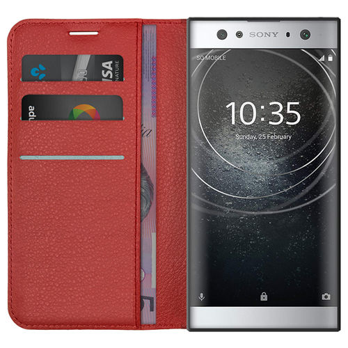 Leather Wallet Case & Card Holder Pouch for Sony Xperia XA2 Ultra - Red